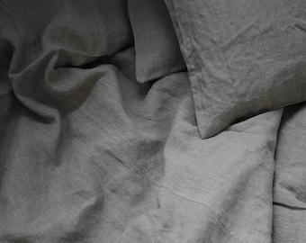 Pair of Linen Euro Shams Natural Gray Grey Flax Handmade Eco
