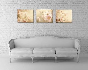 Pink Wall Art Set, Flower Canvas Set, Three Canvas Grouping, Pink and Gray Home Decor, Living Room Art, Floral Photograph