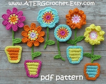 Crochet pattern FLOWER GARDEN magnets by ATERGcrochet