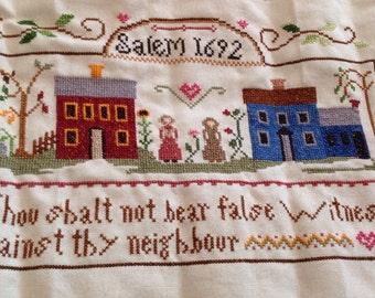 Completed Cross Stitch-Salem 1692-Thou Shall Not Bear False Witness...