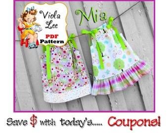 Mia...Girl's Ruffled Pillowcase Dress Pattern. pdf sewing Pattern, Girl's Sewing Pattern. Girl's Dress Pattern. Toddler Pattern.