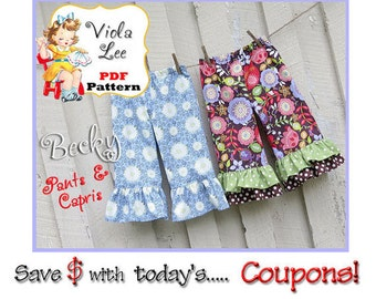 Toddler Pants Pattern pdf. Baby Pants Pattern. Girl's Pants Pattern pdf. Ruffle Pants Pattern. Infant - Toddler Girl's Sewing Pattern. Becky