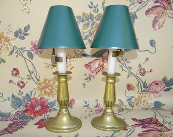 1800's English Brass Candle Holders with Metal Shades, 19th Century Antique