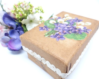 1910 French Candy Box with Violets,  Antique Candy Container for Christmas