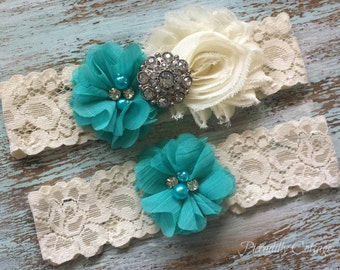 Turquoise & Ivory Wedding Garter, Wedding Garter Set, Bridal Garter, Lace Garter, Custom Garter, Toss Garter Included