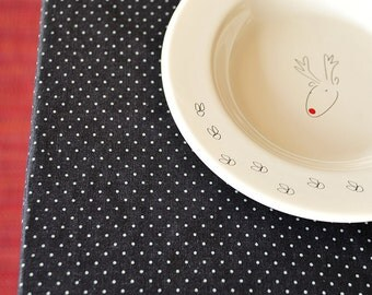 Polka dot denim-like cotton tablecloth.Dark blue-grey dotted tablecloth.Handsewn and ready to ship!