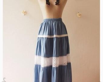 """Long Skirt Denim Summer Skirt Beach Skirt Skirt Beach Dancing Skirt Gypsy Boho Bohemian Skirt  Hippie Skirt -waist  25""""-34"""""""