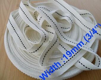 White Strip With  Black Flack  Cotton Tape Trim 19 mm ( 3/4 Inch ) wide Herringbone cotton Tape webbing- Asis Tape