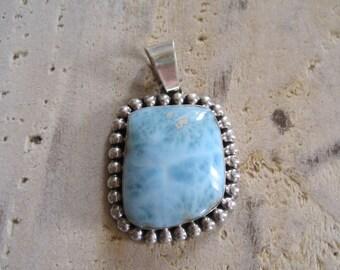 Robins egg blue sterling silver Navajo pendant