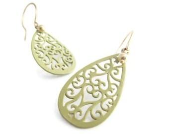 Sage Green Filigree Earrings Sage Green Earring Green Earring Lacy Art Nouveau Earring Gold Filled Earrings Gift Idea for Her Summer Trends