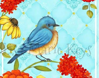 Blue Bird Wall Art Bird Decor Wall Art Bluebird Flowers Zinnias Bright Flowers Home Decor