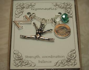 Personalized Gymnastics Necklace With Birthstone and Initial - GYM3 - Gymnast Charm - Gymnastics Pendant - Gymnast Necklace