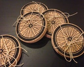 Bike Wheel - Cork Coasters - Hand Printed