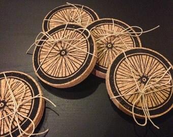 Bike Wheel - Cork Coasters - Hand Printed