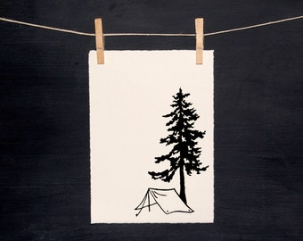 Under the Pines - Camping - Linocut