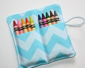 Crayon Rolls Party Favors Blue Chevrons Crayon Holder holds 10 Crayons, Birthday Party Favors