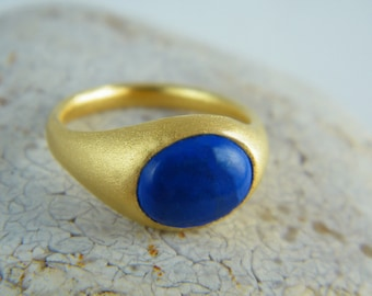 Lapis lazuli ring , lapis ring blue , lapis gold ring