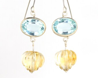 Santa Maria Aquamarine Earrings with Carved Citrine Drops