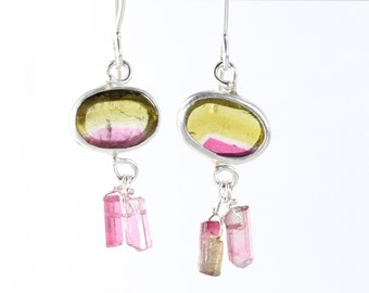 Watermelon Tourmaline Slice Earrings With Raw Pink Crystal Drops