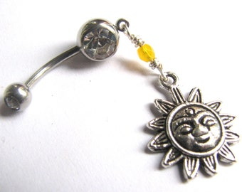 Sun Belly Button Ring, Beaded Silver and Yellow Sunshine Belly Button Jewelry, Dangle Navel Piercing Body Jewelry