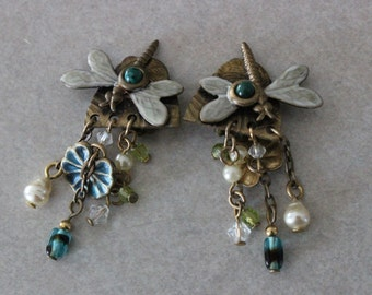 Unique Vintage Brass Enamel Dragonfly Lillypad Clip Earrings