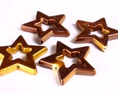 Dollar Sale Clearance - Brown and gold large star beads 39mm  - 4 pieces (1374)2)