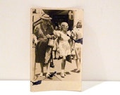 Shopping Street Scene Postcard Girl in Pinafore Mother Grandmother Vintage Photograph Agfa Post Card Unused Antique  1930s Free US Ship