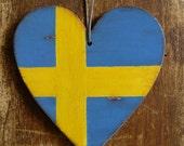 Swedish luggage tag, Swedish flag, pendant, hand painted, Swedish tag, distressed flag