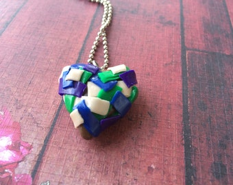 Patchwork Heart Pendant Necklace - Purple, Green, Natural Chaos