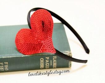 Red Sequins Heart Headband, Red Heart Headband , Valentines Day Headband