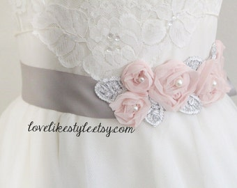 Light Pink Chiffon Flower Pearl and Rhinestone Beading Sash, Bridal Sash, Bridesmaid Sash, Flower Girl Sash, SH-67