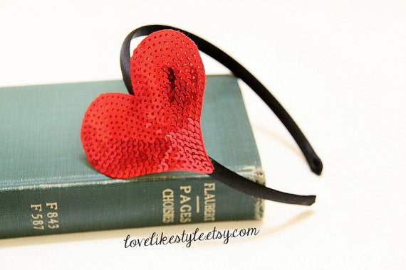 Red Sequins Heart Headband, Red Heart Headband , Valentines Day Headband