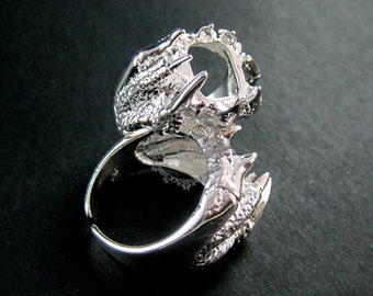 5pcs 11.8mm setting size vintage style shiny silver brass dragon claw adjustable punk ring base bezel supplies 1212010
