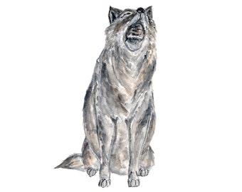 wolf art, wolf painting, watercolor painting, watercolor wolf, animal art, wildlife painting, watercolor wildlife, grey wolf, 8X10 original