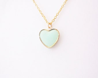 Mint Heart  Necklace. Love Necklace.  Minimalistic necklace.  Heart necklace. Valentines Day Gift Gift for her