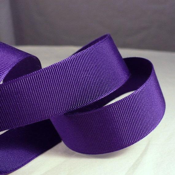 """25mm 1"""" Pleasing Purple Grosgrain Ribbon Vintage 1930s Millinery Craft Sewing"""