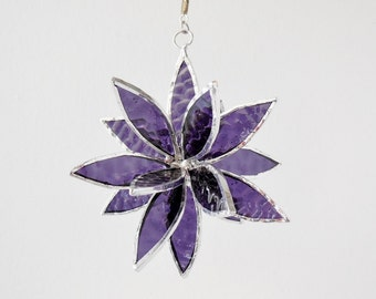 3D Stained Glass Suncatcher. Violet/Purple Flower. Flower of Life - Swirl.