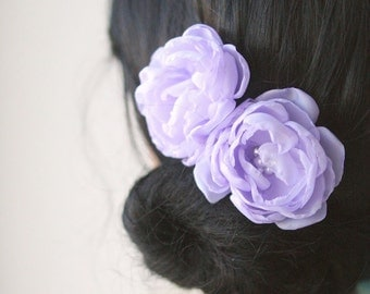SALE - Lavender Lilac Bridal Flower Hair Accessories Wedding Hairpiece Bridal Clips Bridesmaid Light Purple Headpiece Chiffon Pearlsset of 2