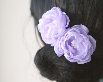 SALE - Lavender Lilac Bridal Flower Hair Accessories Wedding Hairpiece Bridal Clips Bridesmaid Light Purple Headpiece Chiffon Pearlsset of 2