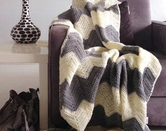 Chevron blanket - Cream and gray crochet afghan throw -> made to order