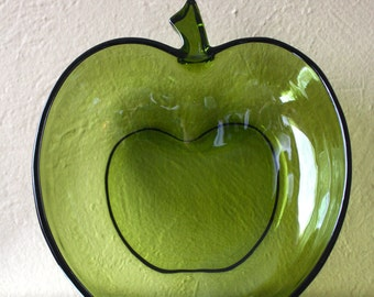 Vintage Hazel Atlas Green Glass Apple Bowl