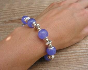 SALE Purple Bracelet Purple Jade Bracelet Purple Bracelet Purple Beaded Bracelet Purple Silver Bracelet 50% OFF