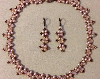 Smokey Pink and Antiqued Copper Woven Floral Necklace and Earring Set