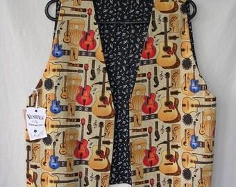 Reversible  Tan Musical Guitar Vest, Music Notes Reverse,  Ladies  size Large