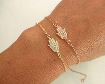 CZ gold vermeil hamsa hand bracelet - cz pave hamsa bracelet - cz pave gold hamsa bracelet - cz pave rose gold hamsa bracelet
