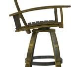 Bourbon Barrel Pub Chair (black, natural oak, brown, green, steel, captains chair, stool)