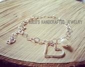 Open Heart Bracelet - Heart Bracelet - Heart and Pearl Bracelet/ Everyday Wear/ All Sterling Silver/ Bridesmaid Bracelet/ Great Gift for Her