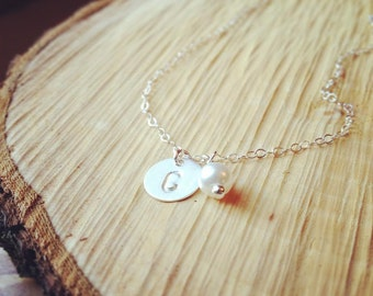 Initial Necklace - Sterling Silver Initial and Pearl Necklace - Bridesmaid Gift, Mothers Necklace, Personalized Jewelry