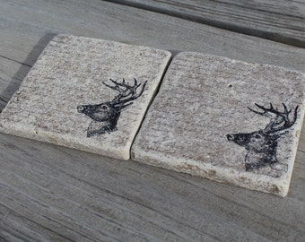 Set of 4 Rustic Deer Tumbled Marble Coasters