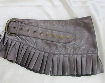 Silver leather steampunk mini skirt mini skirt  leather skirt
